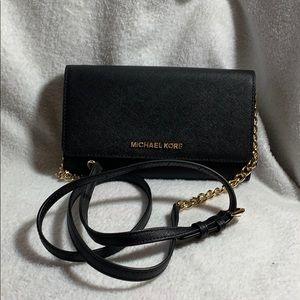 Michael Kors wallet on chain crossbody bag black